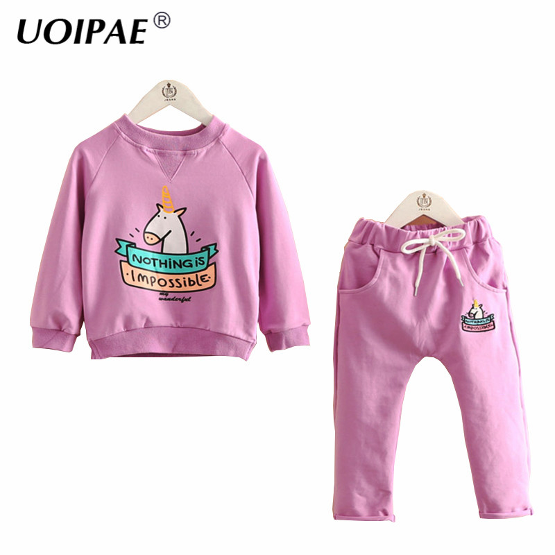Kids Girls Sets 2017 Autumn Casual Pony Girls Sets Long Sleeve Sweater+Solid Pants Sports 2 Pcs Children Clothing 4158W autumn winter girls children sets clothing long sleeve o neck pullover cartoon dog sweater short pant suit sets for cute girls