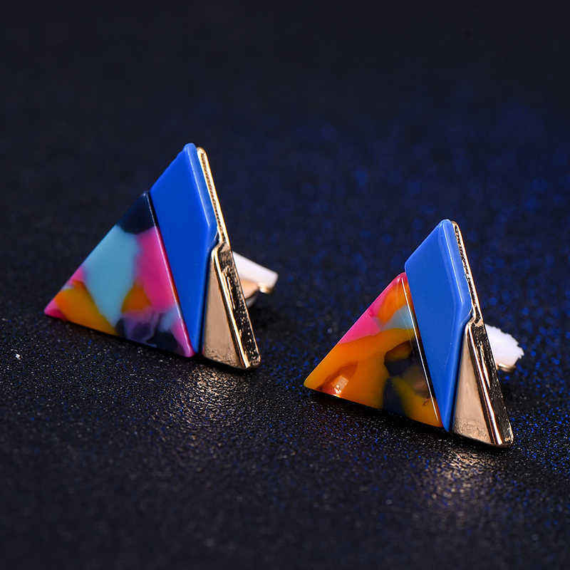 SUKI Fashion Korea Style Triangle Clip on Earrings Without Piercing for Girls Party Cute Colorful Joint No Hole Ear Clip