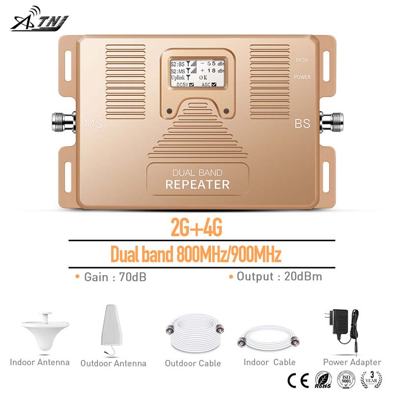2G 4G Dual Band 800/900MHz Mobile Signal Booster Phone Signal Repeater For Home,office Use With Large Area Signal Amplifier