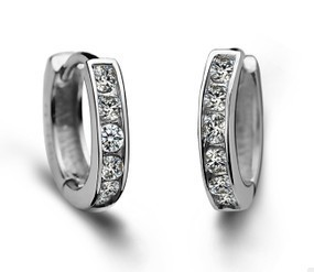 925 Sterling Silver Earrings Silver Hoop Earrings  Round AAA Zircon The Hoop