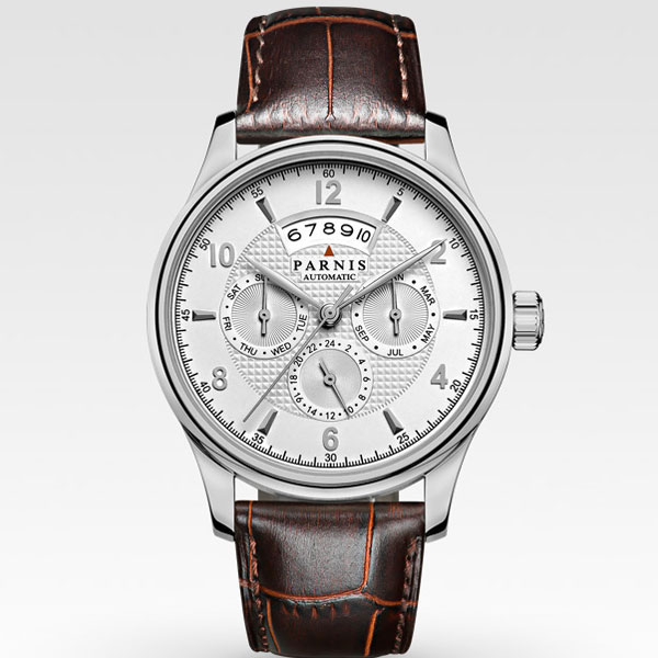 42mm parnis white dial silver marks Multifunction Sapphire Glass 26 jewels miyota 9100 Automatic mens Watch 536 цена и фото