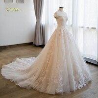 Loverxu Vestido De Noiva Sexy Boat Neck Princess Wedding Dresses 2018 Chapel Train Appliques Beaded Flowers Lace Bridal Gowns