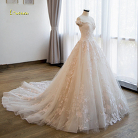 Loverxu Vestido De Noiva Sexy Boat Neck Princess Wedding Dresses 2018 Chapel Train Appliques Beaded Flowers Lace Bridal Gowns