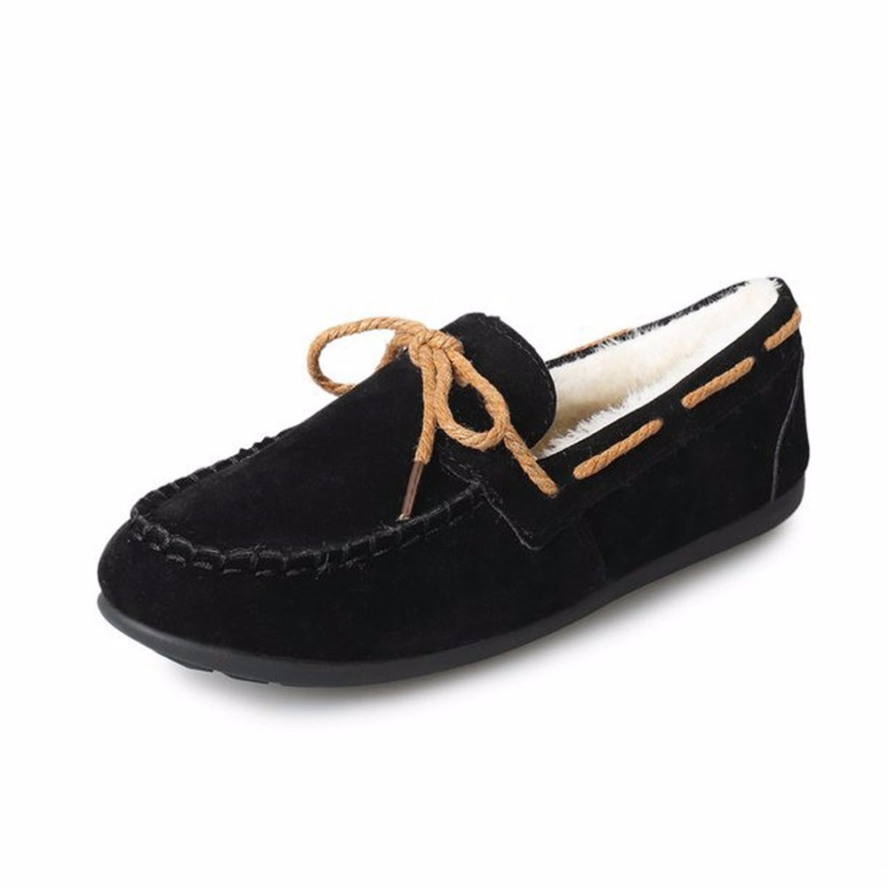 Winter Fashion Wool Fur Inside Flat Platform Shoes Thickening Woman Soft Cotton Slip On Loafers Comfortable Female Footwear women winter peas shoes bowtie lovers pregnant woman shoes genuine leather soft wool lining fur slip on loafers free shipping