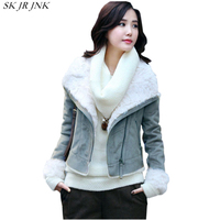Lapel Lamb Fur Collar Suede Faux Leather Short Jacket 2017 Women Autumn Winter Female Fashion Slim