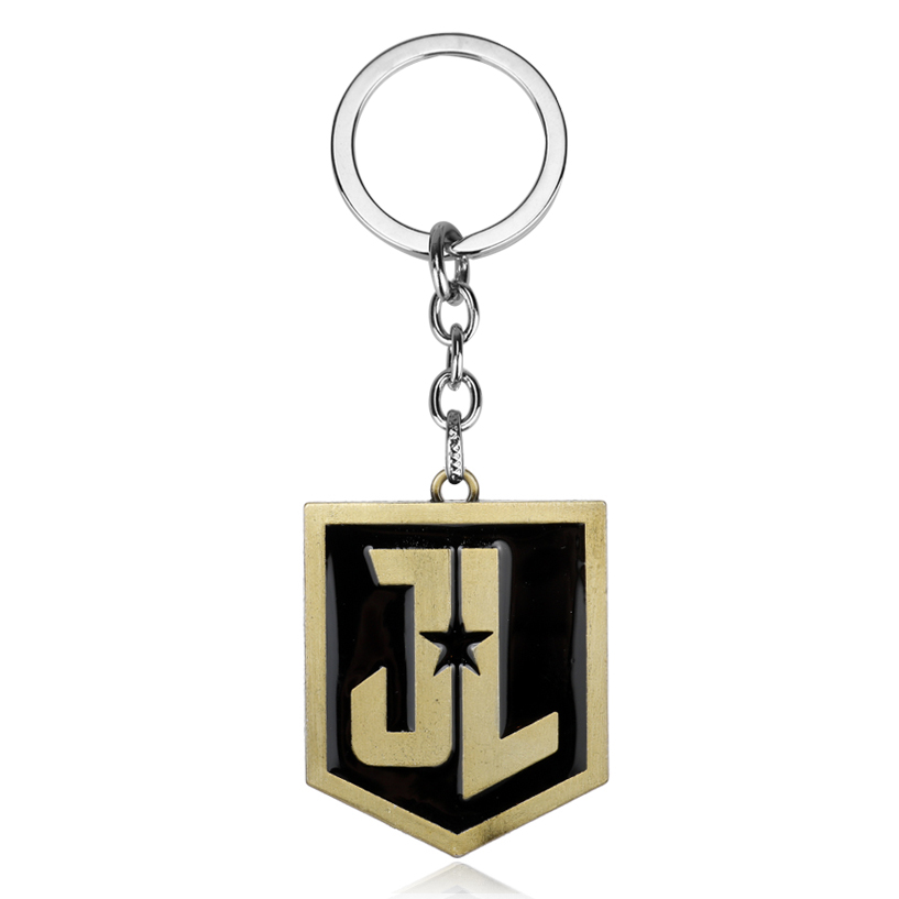 Hot Movie Justice League Keychain Accessories Jewelry Letter Justice League Shield Pendant Dog Tag Keychain Keyring Chaveiros