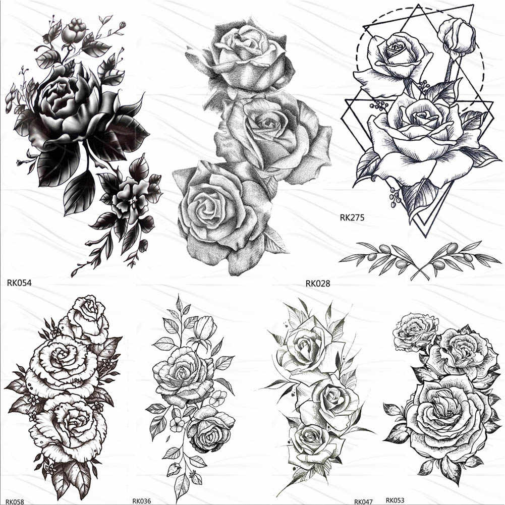 OMMGO HOT 3D Black Henna Flower Rose Temporary Tattoos For Girls Women Tattoo Sticker Leaf Custom Wholesale Tatoos Body Art Kit