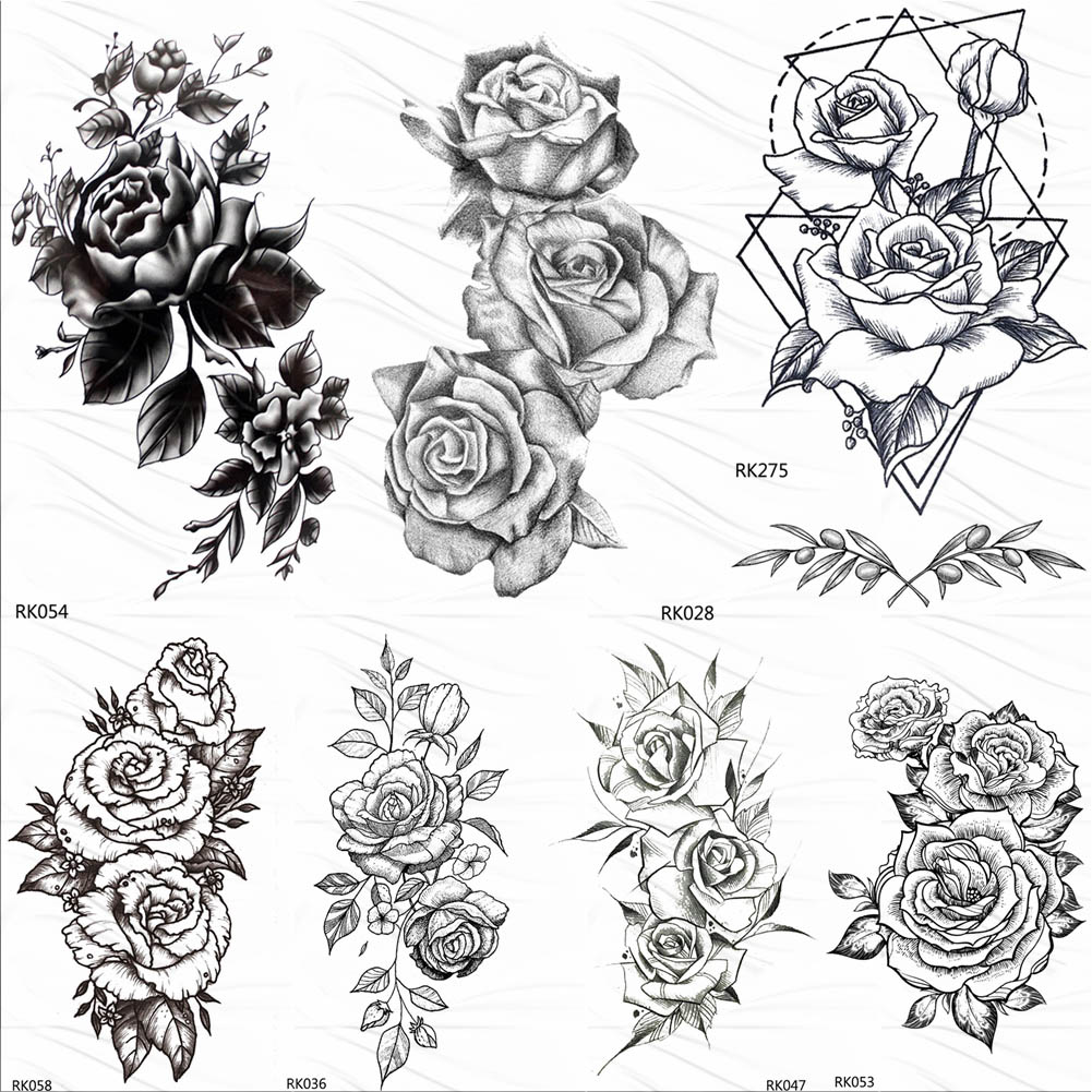 OMMGO HOT 3D Black Henna Flower Rose Temporary Tattoos For Girls Women Tattoo Sticker Leaf Custom Wholesale Tatoos Body Art Kit