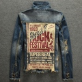 Spring And Autumn Male Street Punk Slim Denim Jacket Letter Print Denim Coat Vintage Turn Down Collar Hole Denim Outerwear