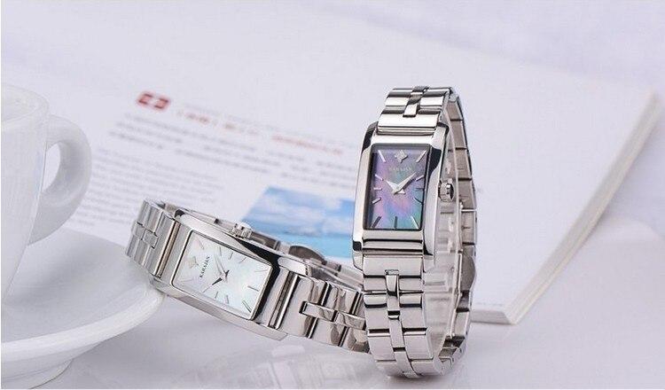 สไตล์ธุรกิจผู้หญิงนาฬิกาแบรนด์สแตนเลสสตีลควอตซ์นาฬิกาข้อมือเปลือกหอยธรรมชาติ Analog Sapphire นาฬิกา NW1478-ใน นาฬิกาข้อมือสตรี จาก นาฬิกาข้อมือ บน   1