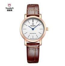 Nova chegada dois agulha simples dial women watch 30 m à prova d' água senhoras relógio de quartzo menina moda casual pulseira de couro relógio de pulso