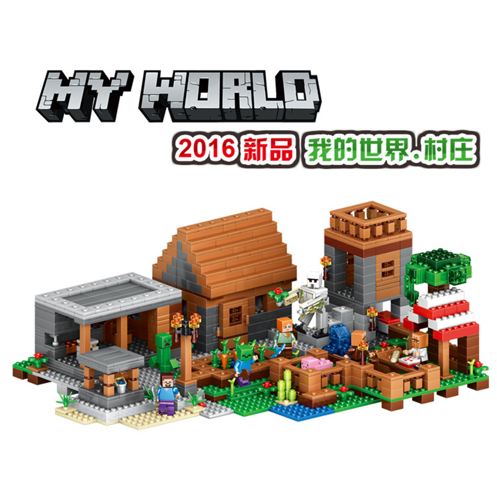 Éclairer pour les enfants blocs de Construction figurines ferme Village Set Minecrafted My World Compatible avec Legoe Toys