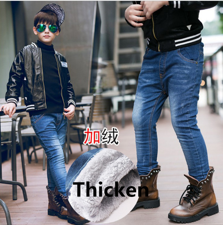 2018 Winter New Fashion Boys Jeans Warm Baby Children Casual Pants Male Kids Jeans Warm Fleece Boy Denim Pants Skinny Jeans top designer blue ripped jeans mens denim hole zipper biker jeans men slim skinny destroyed torn jean pants streetwear jeans