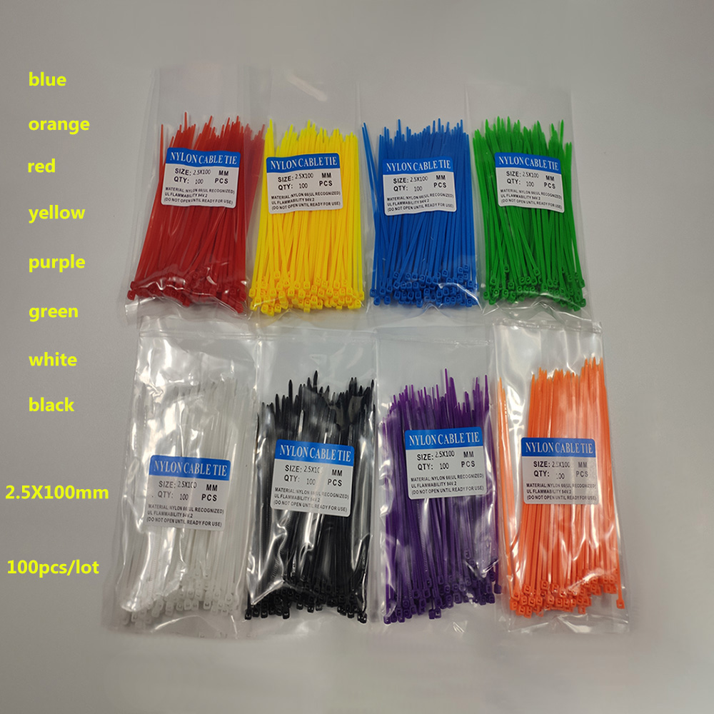 CCZDSL free shipping plastic wire cable ties zip 8 color 4 inch 3*100mm self locking nylon