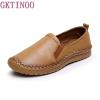 Autumn Women Shoes Genuine Leather Flat Shoes Comfort Pure Handmade Shoes Soft Bottom Fashion Casual Shoes