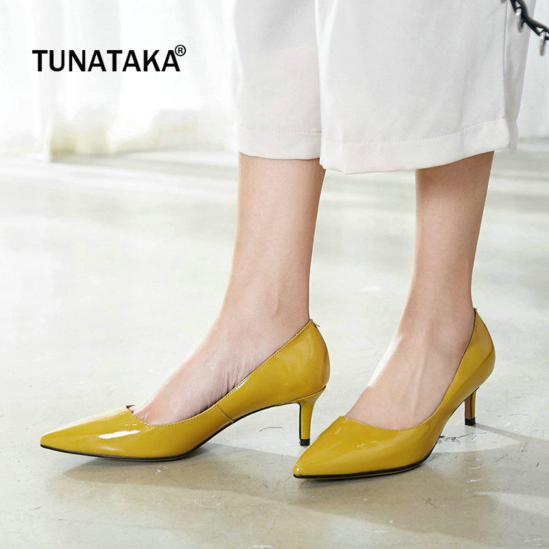 Patent Leather Comfort Thin Heel Slip On Woman Pumps Fashion Pointed Toe Dress Lazy High Heel Shoes Woman Pinl Yellow shoes woman pumps thin high heel 12cm shallow slip on wedding shoes patent leather pointed toe printing fashion sexy size 11 fsj