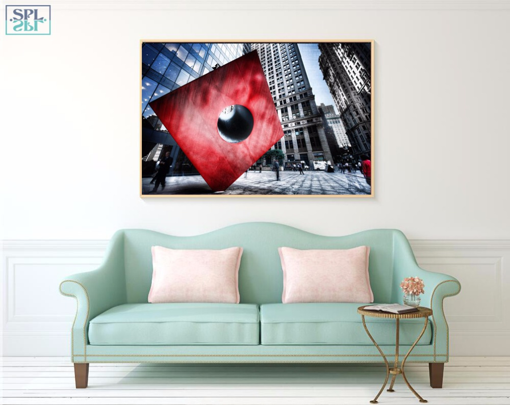 SPLSPL Modern Wall Art Decoration Picture Skyscraper Building Landscape Canvas Art Print Poster Home Decor Painting No Frame