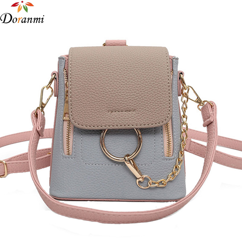 DORANMI Fashion Patchwork Backpacks Luxury Designed PU Leather Panelled Schoolbag Good Quality Mini School Bags For