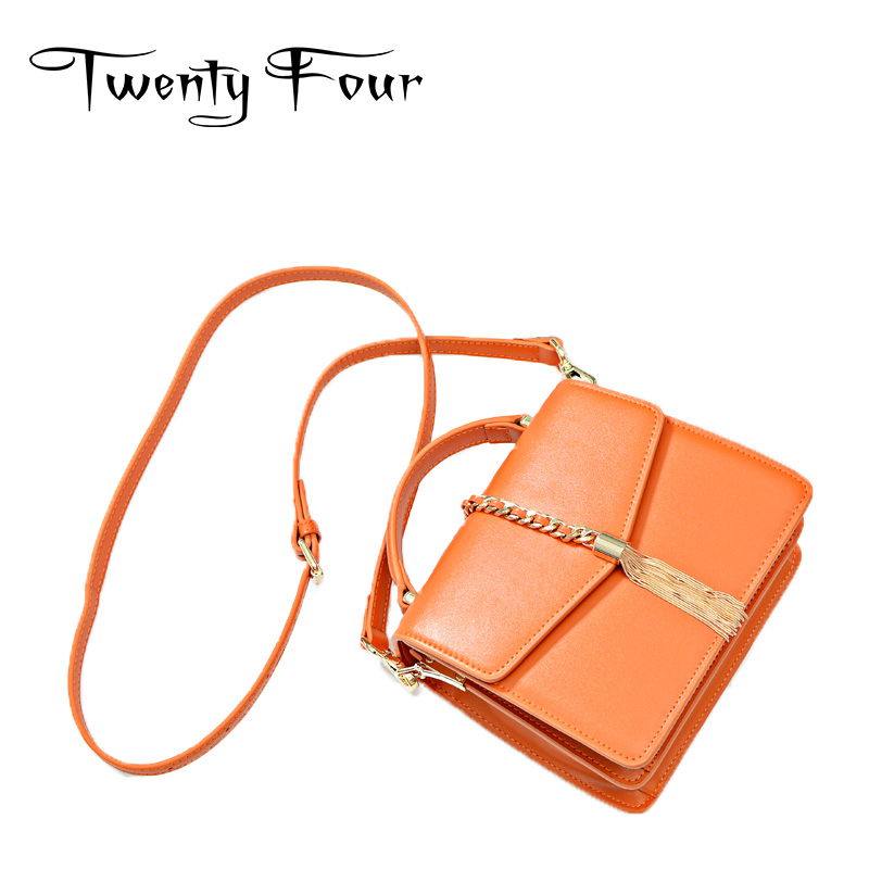 Twenty-four Women Genuine Leather Flap Saddle Bag With Chain Saddle Messenger Bags Small Leather Cover Bags Ladies Shoulder Bags twenty four women brand flap bags natural genuine leather handbags with chain solid color cover small bags young cross body bags