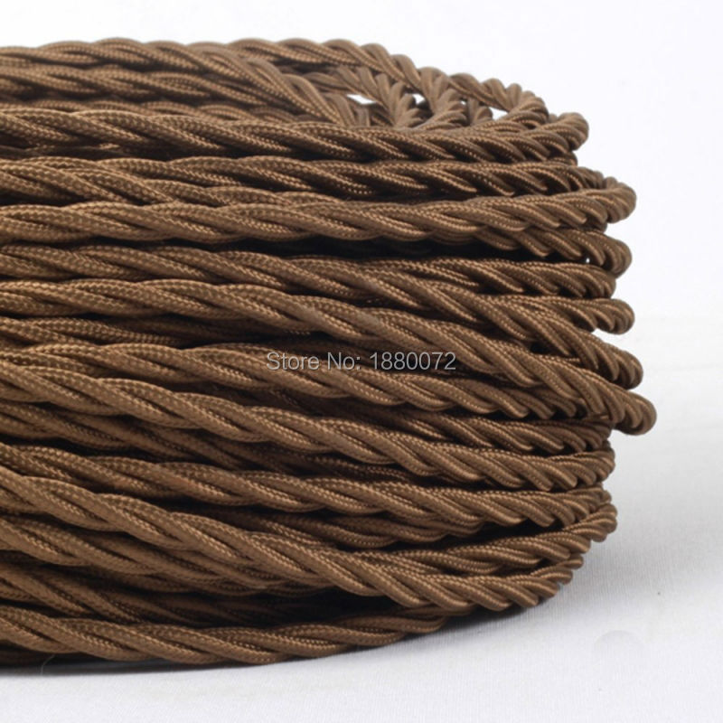 2*0.75mm Vintage Twisted Braided cable Antique Style Cloth Fabric Lamp Cord