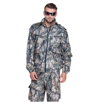 Men Winter Warming Hunting Ghillie Suits Multi Pocket Snow Camouflage Clothing With Polar Fleece Jacket And