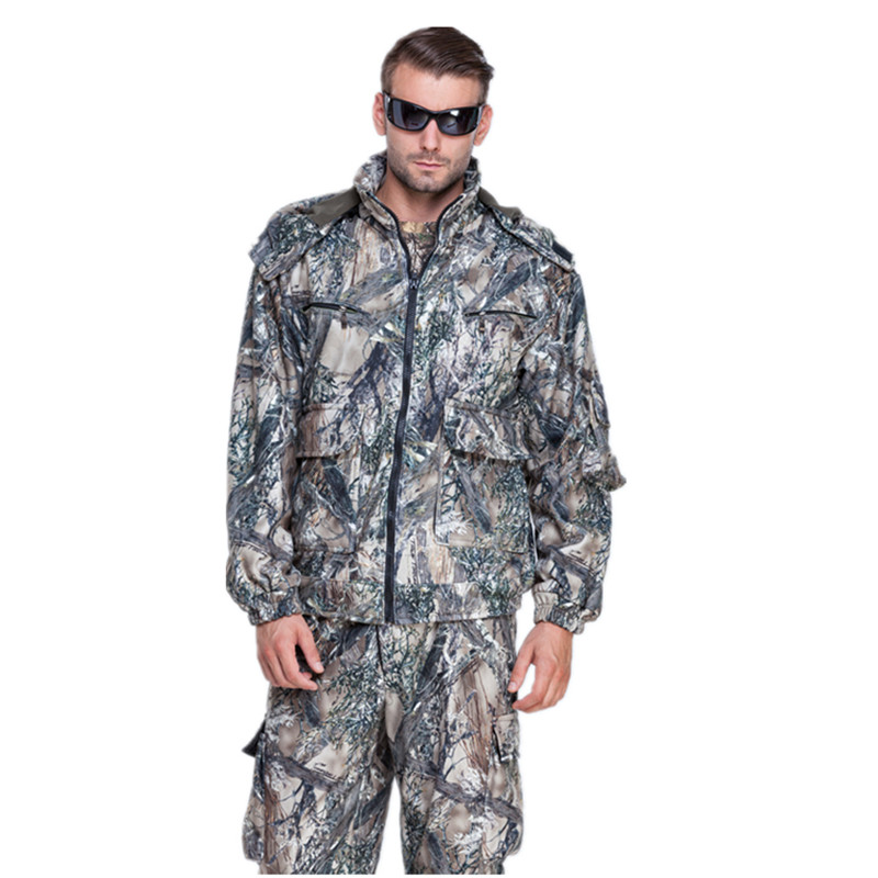 Men Winter Warming Hunting Ghillie Suits Multi-pocket Snow Camouflage Clothing with Polar Fleece Jacket and Pants bionic ghillie suits maple leaf camouflage hunting ghillie suits