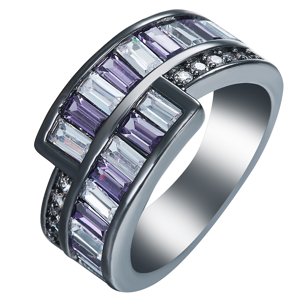 Black Gold Silver Plated Rings Us 7 8 9 New Vintage Pink White Purple Cz  Jewelry
