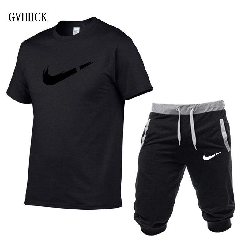 HTB1zPumPwHqK1RjSZFEq6AGMXXaP Summer New Tracksuit Men Shorts Casual Men's Sportswear Suit Shorts Brand Clothing Two Pieces Top Tee+Shorts Sweat Suits 2019