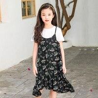 Asymmetrische mouwloze gedrukt meisje jurk nieuwe 2018 zomer kinderen strand jurken voor meisjes zonnejurk kids tieners kleding