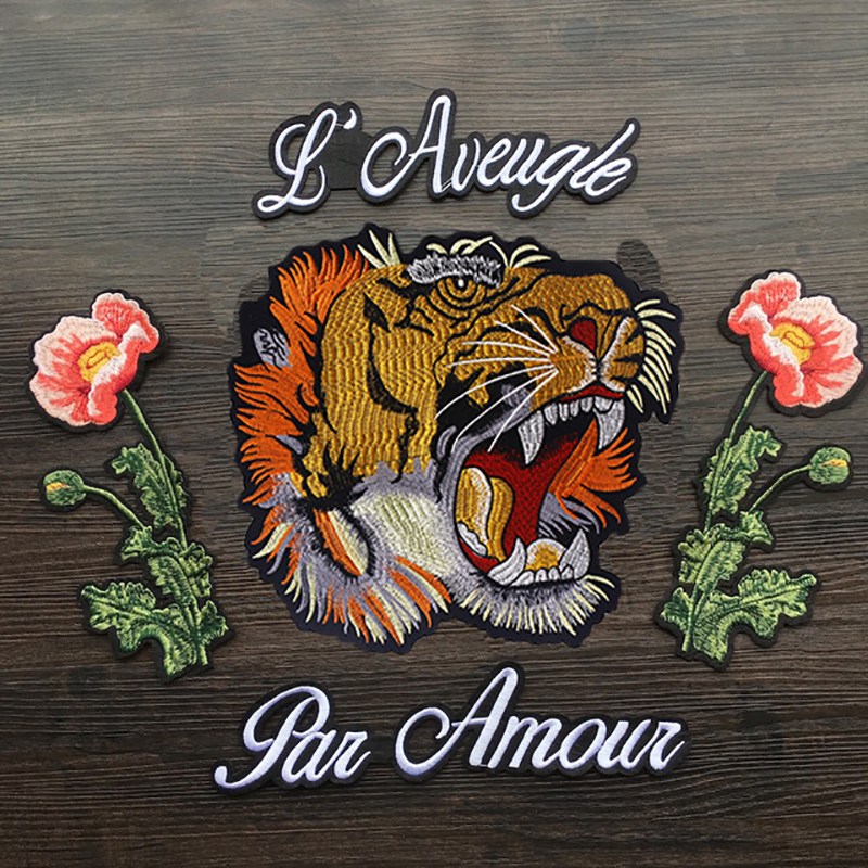 Iron on Tiger patch Fashion patch Tiger Flower patch