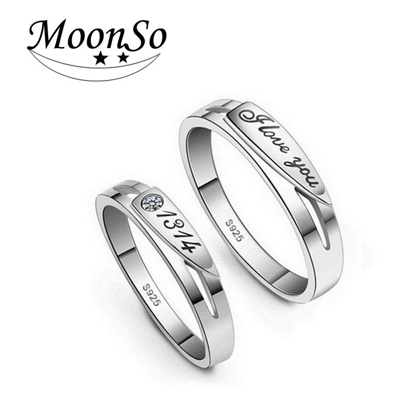 Solid 925 Sterling Silver Couple Rings Engagement Rings for Lovers Couple Wedding Rings for Men and Women Jewelry Solid R141