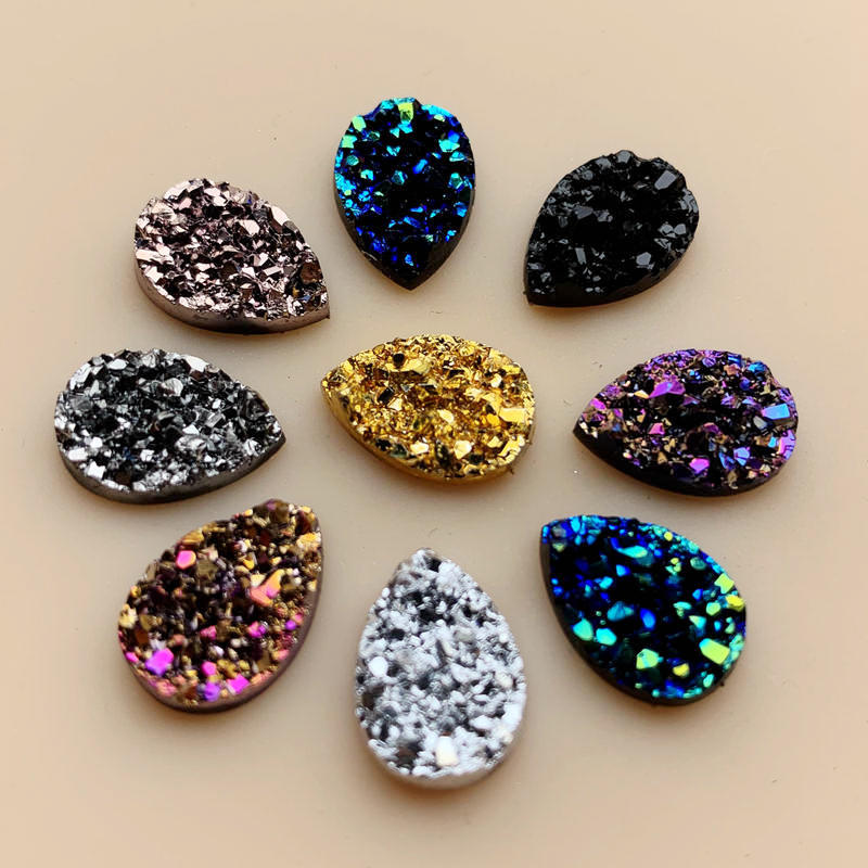 Diy 50PCS 10*14mm Glitters AB Colors Mineral Surface Resin Rhinestone Flatback Cabochon Stone DIY Wedding Decoration Crafts -A57