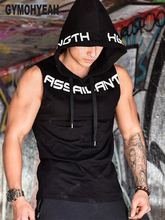 New mens gyms hoodie singlets 스웨터 민소매 후드 인쇄 보디 빌딩 휘트니스 남성 조끼 셔츠 캐주얼 후드
