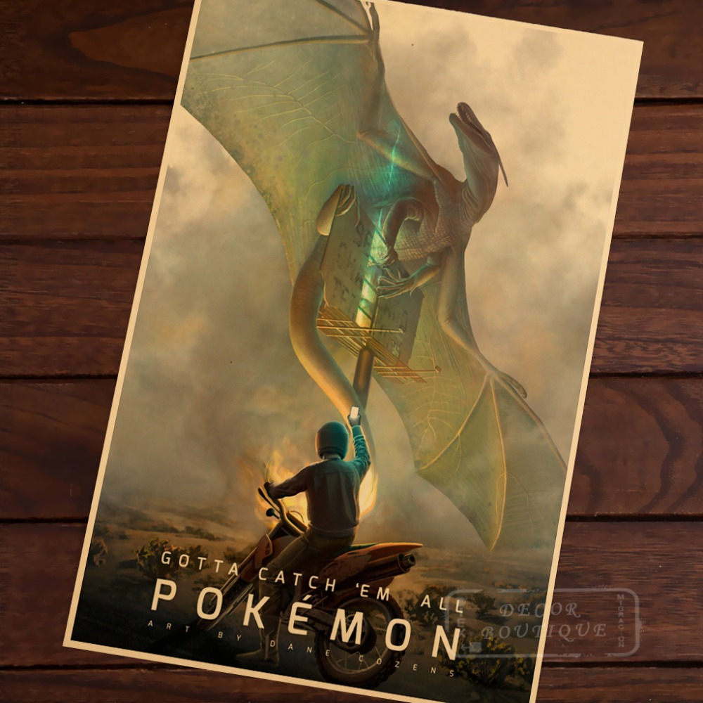 Fight Of Great Anime Creepy Pokemongo Pocket Monster Retro Vintage Decorative Frame Poster Diy Wall Home Posters Home Decor Gift