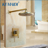 KEMAIDI Antique Brass Wall Mounted Shower Faucet Sets 8 Brass Rain Shower Head Single Lever Shower Mixer Taps Concealed Install