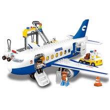 Super Grande Ville L'aéroport Grande Taille Construction Blocs Avion Airbus Modèle Style DUPLO Éclairer Briques Enfants Jouets Éducatifs