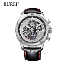 2016 Promotion Burei Fashion Casual Men Watch Luxury Brand High Quality Leather Business Quartz Watches Waterproof Wristwatch