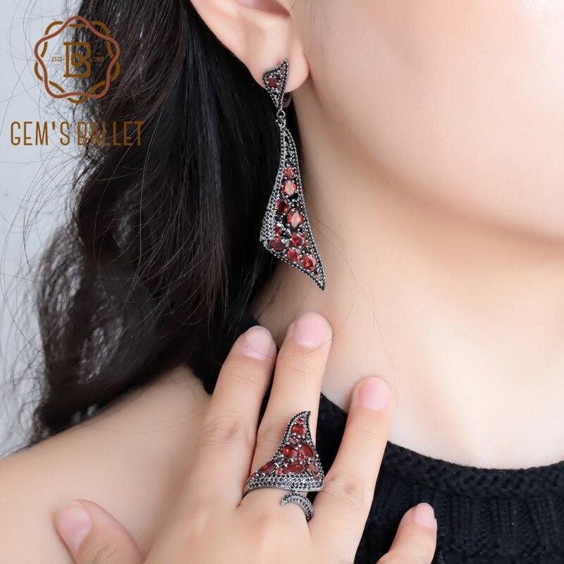 GEM'S BALLET 100% 925 argent Sterling gothique Vintage ensembles de bijoux pour les femmes naturel rouge grenat boucles d'oreilles goutte ensemble de bagues beau cadeau