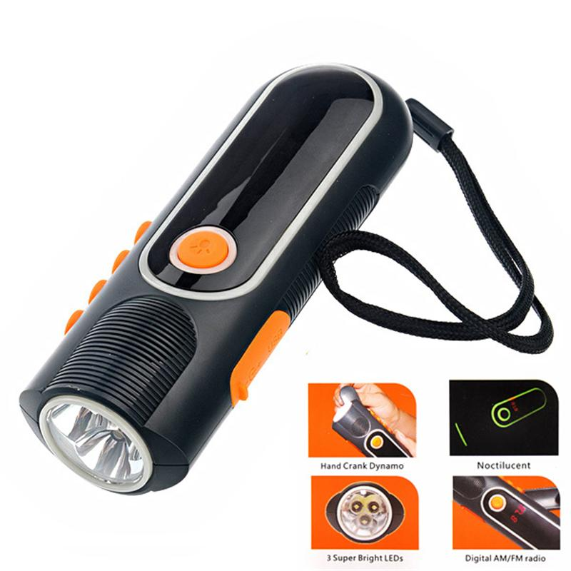 XLN-704 Hand-cranked /USB Powered LED Flashlight FM/AM Radio Cellphone Charger with Flashing Alarm icoco 3 in 1 emergency charger flashlight hand crank generator wind up solar dynamo powered fm am radio charger led flashlight
