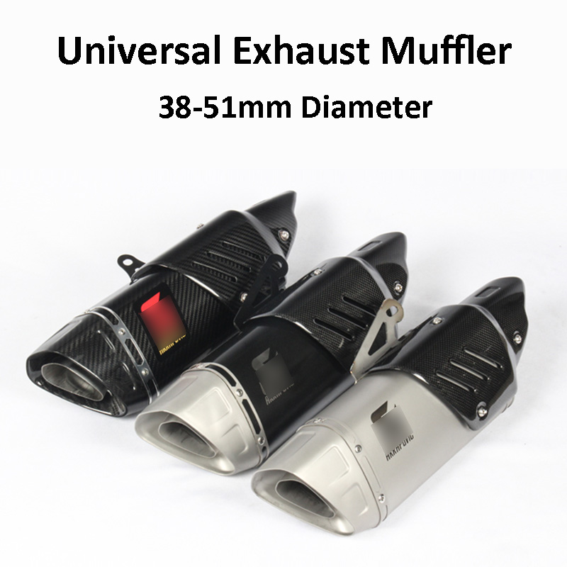 Carbon Motorcycle Exhaust Pipe Muffler for R6 R1 CBR500 Z750 Exhaust Tubo Escape Moto For Zx6r Zx10r Z750 Z800 Z900