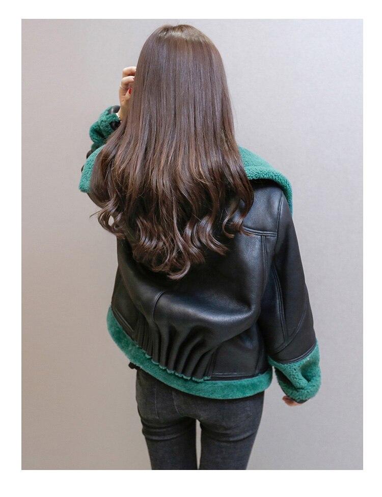 Abrigos Pu Manteau Femmes Feminina Xxl Jaqueta G112 As Noir Cuir Grande Taille Coréennes Laine D'agneau Mujer Nouvelles Pic 2016 En Invierno rBWrSAz