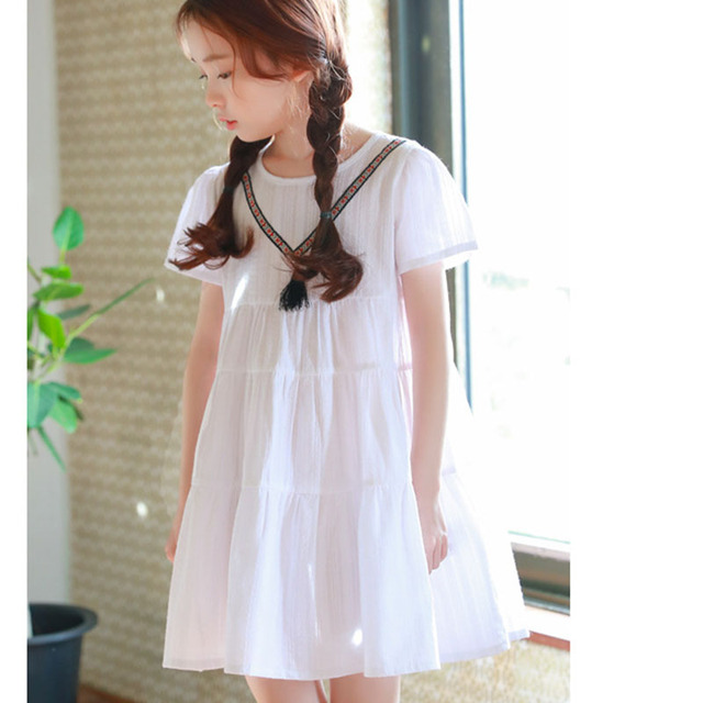 c524a22c5dab little teenagers princess girls dresses children short sleeve white kids  summer spring dress 2018 new Korean style clothing