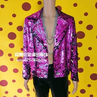 New Men Pink Sequins Locomotive Jacket Nightclub Male Singers Hip Hop Rock Coat Fashion Casual Men Stage Costumes ! M 5XL
