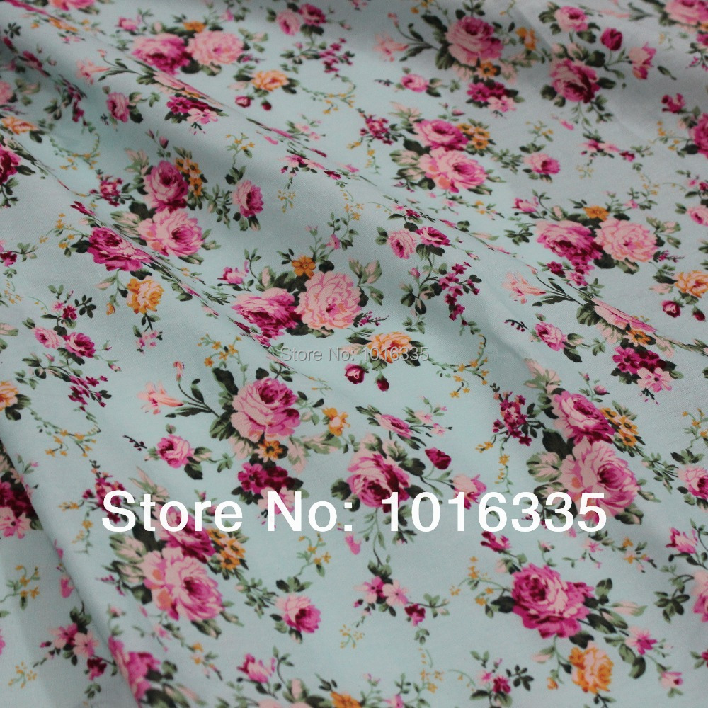 Vente chaude Roses bleu clair 100% coton tissu 2 mètres, largeur 1,45 mètre gros tissu popeline pays rose