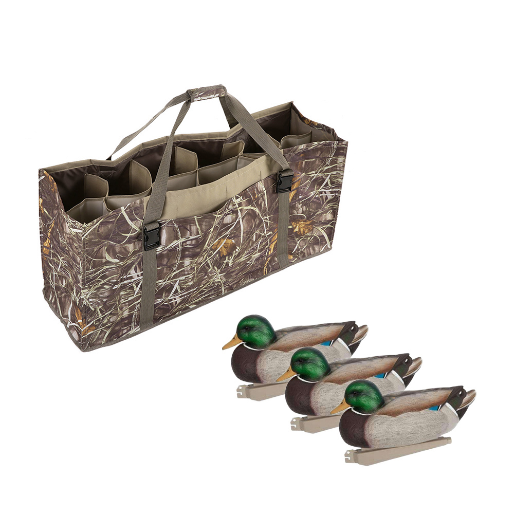 12 Slot Padded Duck Decoy Bag With Adjustable Shoulder Strap Accessories Water Dirt Drain Carriers System