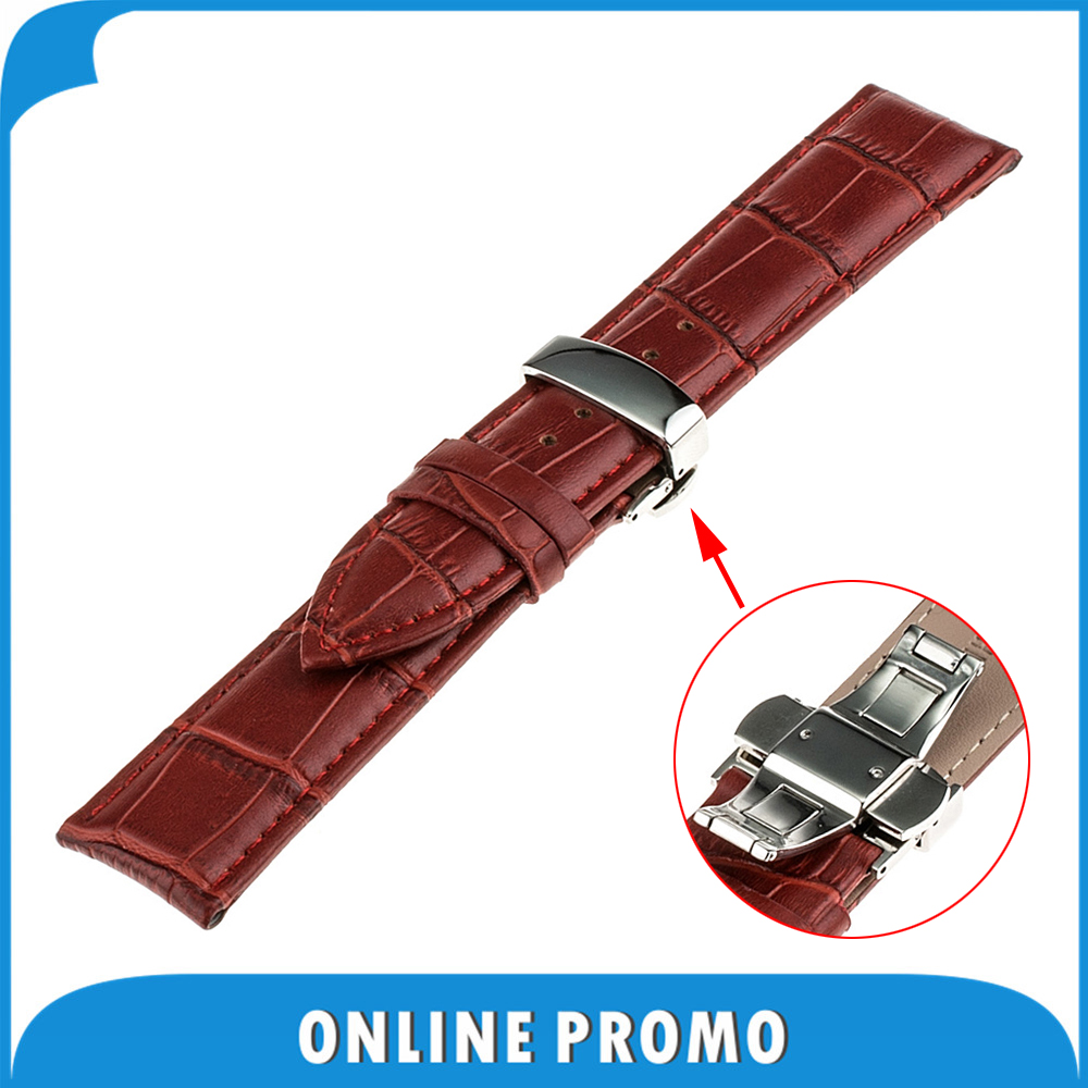 16mm Genuine Leather Watchband for Motorola Moto 360 2 Gen 42mm Women's 2015 Stainless Steel Butterfly Clasp Band Strap Bracelet 20mm watchband stainless steel smart watch band strap bracelet for motorola moto 360 2 2nd gen 2015 42mm smartwatch black silver