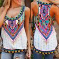 S-5XL 2016 Women Summer Bohemian Loose Tops Fashion Printed Casual  Beach Tank Top Plus Size Women Clothing Sexy Camiseta A8889