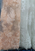 2017 High Quality White Color With Pearls Pretty Nigerian Lace Fabric Pearls Lace Fabric African Net