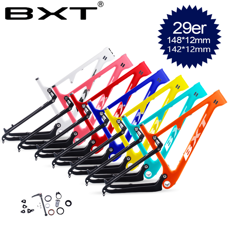 "NEW Carbon Suspension MTB Bike Frame 29er 2.3""Susper Light BSA Mountain Frameset boost Suspension frame 148mm 142*12mm(China)"