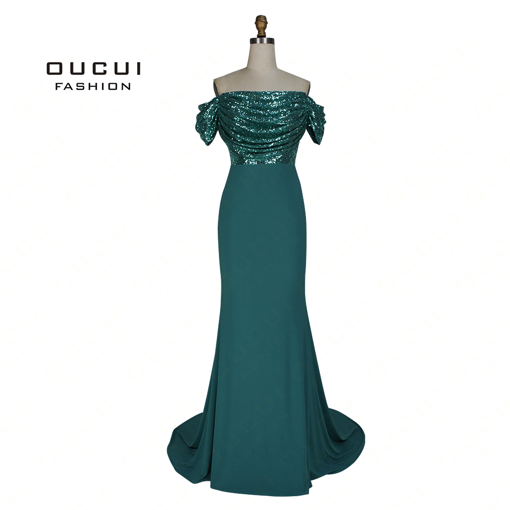 Real Photos Mermaid Beading Long   Evening     Dress   Jersey Boat Neck Prom   Dresses   Pleat OL103074
